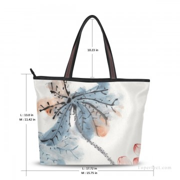 Customized Tote Bag in Art Painting - Personalized Canvas Tote Bag Purse traditional Chinese ink painting Lotus by Chang dai chien USD19 2