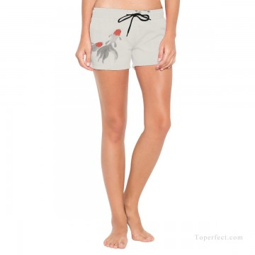 Personalized Clothing in Art Painting - Personalized Boardshorts female in ink painting goldfish and lotus USD13 1