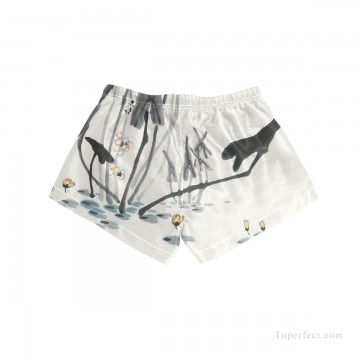 Personalized Clothing in Art Painting - Personalized Boardshorts female in ink painting goldfish in lotus pond USD13 5