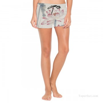 Personalized Clothing in Art Painting - Personalized Boardshorts female in ink painting lotus USD13 1