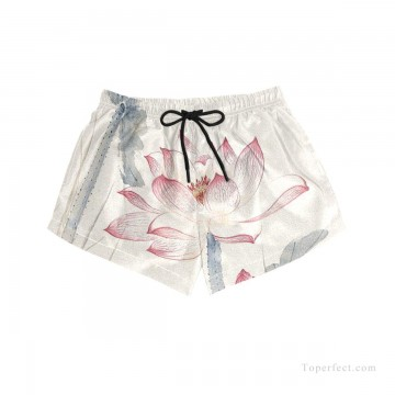 Personalized Clothing in Art Painting - Personalized Boardshorts female in ink painting lotus USD13 4