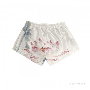 Personalized Clothing in Art Painting - Personalized Boardshorts female in ink painting lotus USD13 5