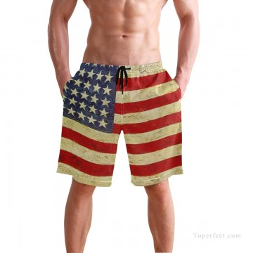 Personalized Clothing in Art Painting - Personalized Boardshorts in American flag USD13 1