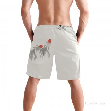 Personalized Clothing in Art Painting - Personalized Boardshorts in ink painting goldfish and lotus USD13 2