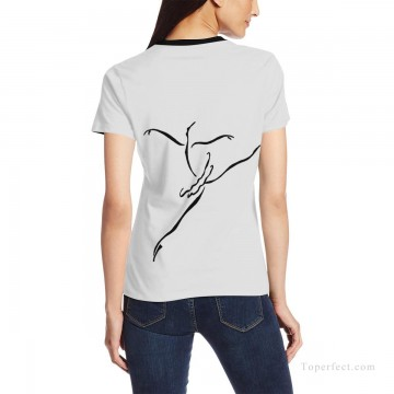 Customized T shirts in Art Painting - Personalized T shirts female black and white ballet dancer USD13 2