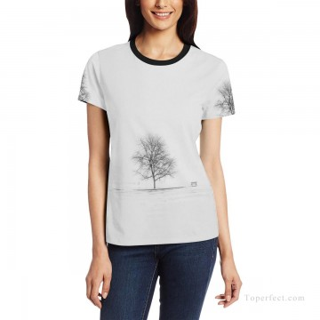 Personalized T shirts female black and white tree USD13 1 Oil Paintings