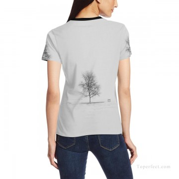 Personalized T shirts female black and white tree USD13 2 Oil Paintings