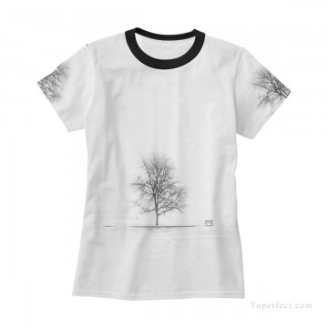 Personalized T shirts female black and white tree USD13 3 Oil Paintings