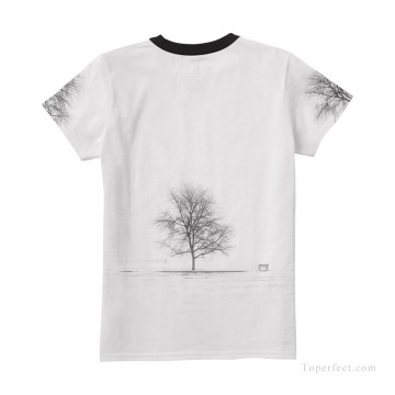 Personalized Clothing in Art Painting - Personalized T shirts female black and white tree USD13 4