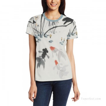 Personalized T shirts female goldfish in lotus pond USD13 1 Oil Paintings