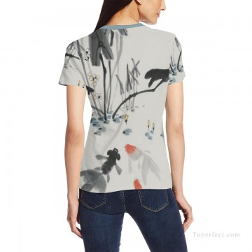 Personalized Clothing in Art Painting - Personalized T shirts female goldfish in lotus pond USD13 2