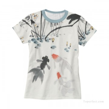 Personalized Clothing in Art Painting - Personalized T shirts female goldfish in lotus pond USD13 3