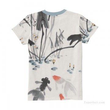goldfish Painting - Personalized T shirts female goldfish in lotus pond USD13 4