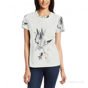 Personalized Clothing in Art Painting - Personalized T shirts girl goldfish and lotus USD13 1