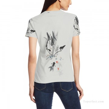 Personalized T shirts girl goldfish and lotus USD13 2 Oil Paintings