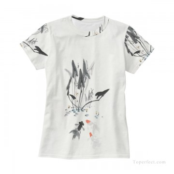 Personalized T shirts girl goldfish and lotus USD13 3 Oil Paintings