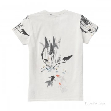 Customized T shirts in Art Painting - Personalized T shirts girl goldfish and lotus USD13 4