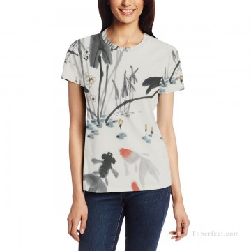 Personalized T shirts girl goldfish in lotus pond USD13 1 Oil Paintings