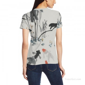 Personalized Clothing in Art Painting - Personalized T shirts girl goldfish in lotus pond USD13 2