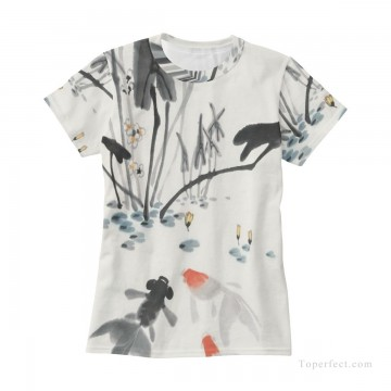 Personalized Clothing in Art Painting - Personalized T shirts girl goldfish in lotus pond USD13 3
