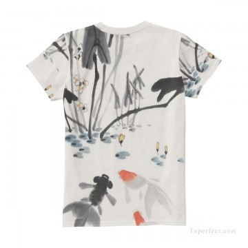 Personalized T shirts girl goldfish in lotus pond USD13 4 Oil Paintings