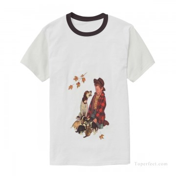 Personalized Clothing in Art Painting - Personalized T shirts male boy and dog USD13 1