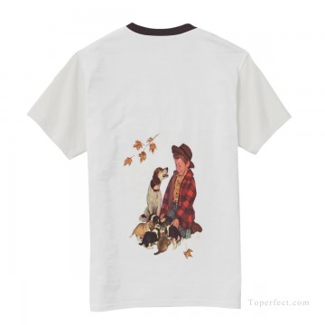 Personalized Clothing in Art Painting - Personalized T shirts male boy and dog USD13 2