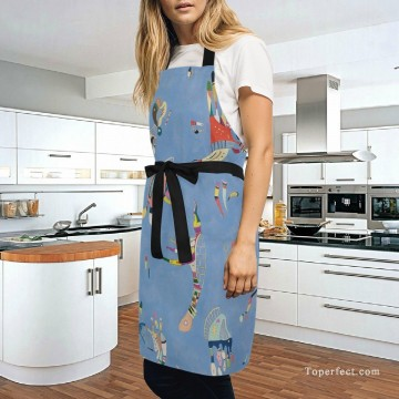 Frame Painting - Personalized Kitchen Apron Adjustable Bib with 2 Pockets Adult Gown or Chef Overalls for Cooking Expressionism Sky Blue by Kand USD13 5