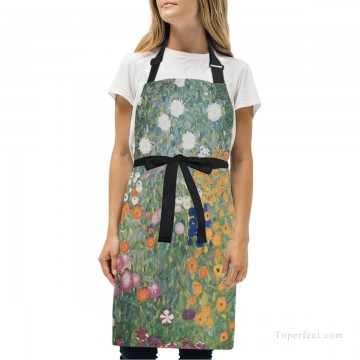klimt kiss Painting - Personalized Kitchen Apron Adjustable Bib with 2 Pockets Adult Gown or Chef Overalls for Women Men Cooking Flower Garden by Klimt USD13 1