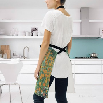 klimt kiss Painting - Personalized Kitchen Apron Adjustable Bib with 2 Pockets Adult Gown or Chef Overalls for Women Men Cooking Flower Garden by Klimt USD13 2
