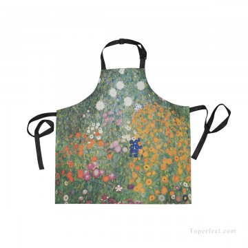 klimt kiss Painting - Personalized Kitchen Apron Adjustable Bib with 2 Pockets Adult Gown or Chef Overalls for Women Men Cooking Flower Garden by Klimt USD13 4