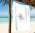 Personalized Beach Towel Large Oversized Blankets for Travel Yoga Mats A Tree Photograph Black and White USD27 2