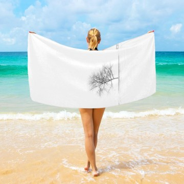Frame Painting - Personalized Beach Towel Large Oversized Blankets for Travel Yoga Mats A Tree Photograph Black and White USD27 3