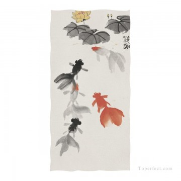 Personalized Beach Towel Large Oversized Blankets for Travel Yoga Mats Chinese Ink Painting Goldfish And Lotus Flowers USD27 1 Oil Paintings