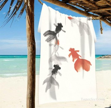 Frame Painting - Personalized Beach Towel Large Oversized Blankets for Travel Yoga Mats Chinese Ink Painting Goldfish And Lotus Flowers USD27 2