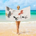Personalized Beach Towel Large Oversized Blankets for Travel Yoga Mats Chinese Ink Painting Goldfish And Lotus Flowers USD27 3