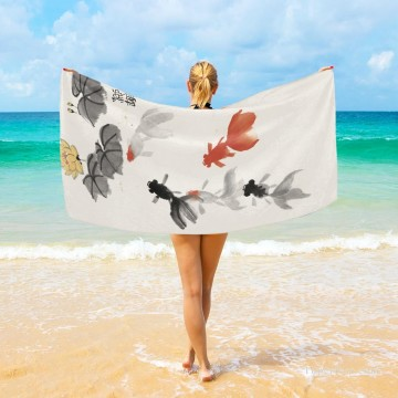 Frame Painting - Personalized Beach Towel Large Oversized Blankets for Travel Yoga Mats Chinese Ink Painting Goldfish And Lotus Flowers USD27 3
