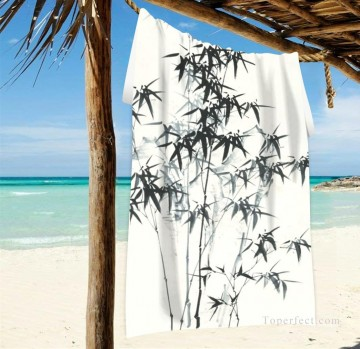 Personalized Beach Towel Large Oversized Blankets for Travel Yoga Mats Chinese ink painting Bamboo by Zhen banqiao USD27 2 Oil Paintings