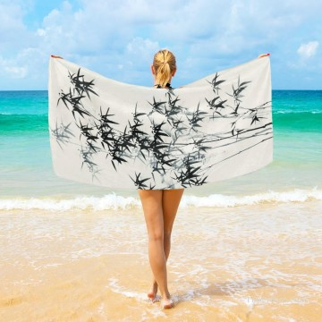 Frame Painting - Personalized Beach Towel Large Oversized Blankets for Travel Yoga Mats Chinese ink painting Bamboo by Zhen banqiao USD27 3