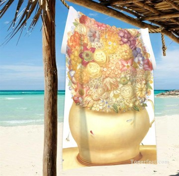 Personalized Beach Towel Large Oversized Blankets for Travel Yoga Mats Flower Pot by Botero USD27 2 Oil Paintings