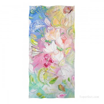 Personalized Beach Towel Large Oversized Blankets for Travel Yoga Mats Flowers Impasto USD27 1 Oil Paintings