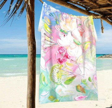 Frame Painting - Personalized Beach Towel Large Oversized Blankets for Travel Yoga Mats Flowers Impasto USD27 2