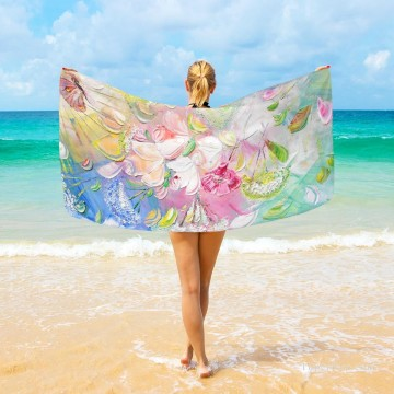 Frame Painting - Personalized Beach Towel Large Oversized Blankets for Travel Yoga Mats Flowers Impasto USD27 3
