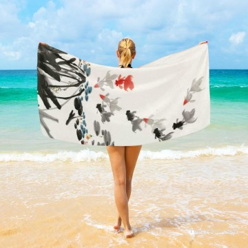 monet water lily lilies waterlily waterlilies Painting - Personalized Beach Towel Large Oversized Blankets for Travel Yoga Mats Goldfish And Waterlilies USD27 3