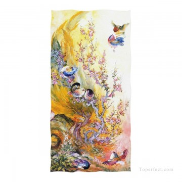Personalized Beach Towel Large Oversized Blankets for Travel Yoga Mats Persian Miniatures painting Birds Fairy Tales USD27 1 Oil Paintings