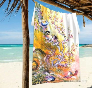 Personalized Beach Towel Large Oversized Blankets for Travel Yoga Mats Persian Miniatures painting Birds Fairy Tales USD27 2 Oil Paintings