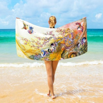 Personalized Beach Towel Large Oversized Blankets for Travel Yoga Mats Persian Miniatures painting Birds Fairy Tales USD27 3 Oil Paintings