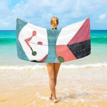 spanish spain Painting - Personalized Beach Towel Large Oversized Blankets for Travel Yoga Mats Spanish Dadaism painting Portrait USD27 3