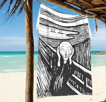 Frame Painting - Personalized Beach Towel Large Oversized Blankets for Travel Yoga Mats The Scream By Edvard Munch USD27 2