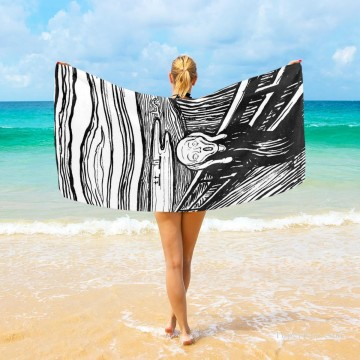 Frame Painting - Personalized Beach Towel Large Oversized Blankets for Travel Yoga Mats The Scream By Edvard Munch USD27 3